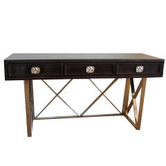 Stunning Ebonized Desk/Console with Nickel Silvered X Framing