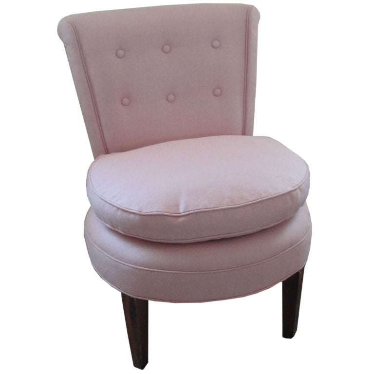 pink slipper vanity chair in linen and buttom trim at 1stdibs