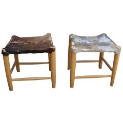 Pair of Primitive Trapezoidal Shape Benches