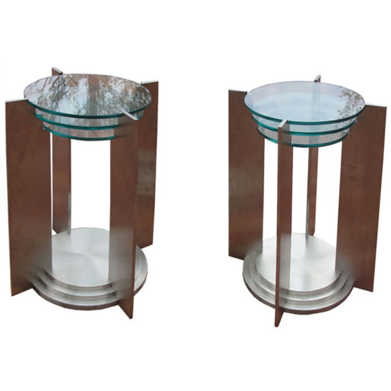 Art Deco Streamline Sidetables in Solid Steel
