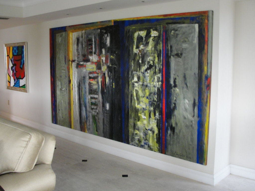 This extraordinary two-panel art piece is created on two panels, signed to front and back. This Argentine born artist has multiple published books of his amazing artwork. Vivid blues, reds and yellows and chunky texture make this an exceptional