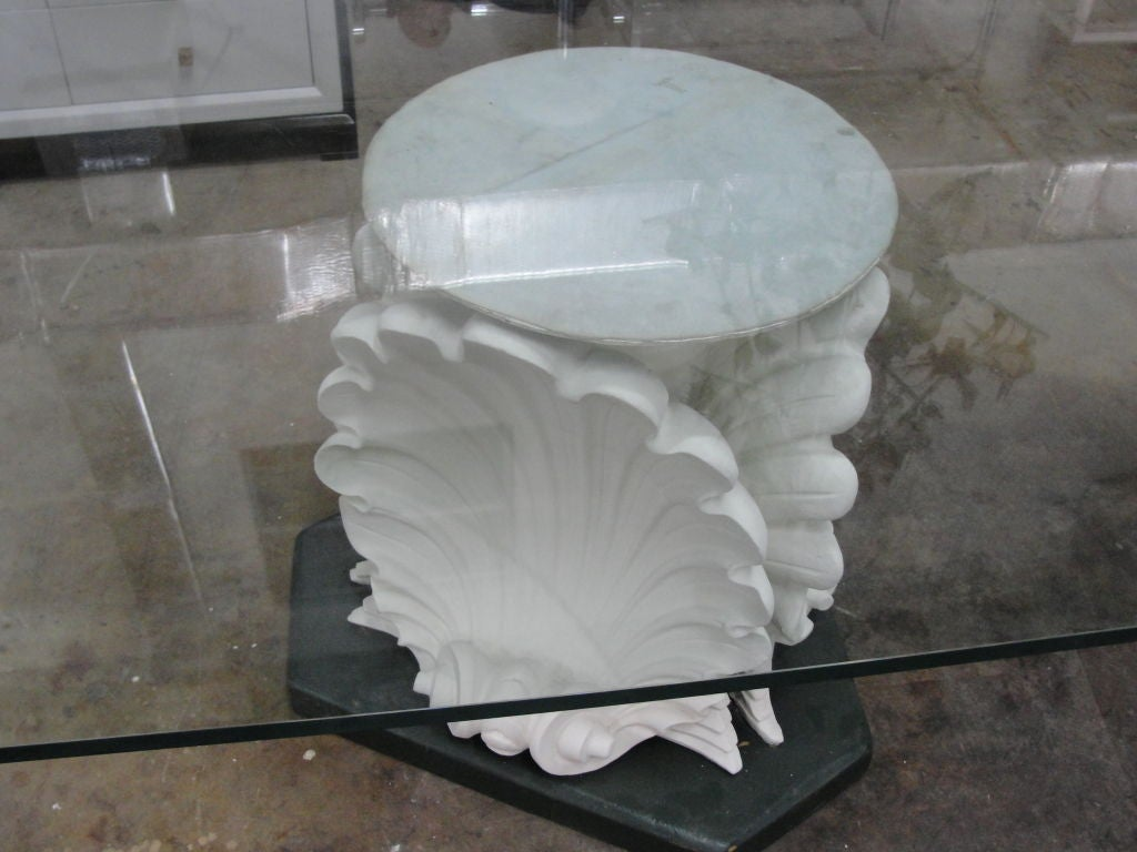Massive French Plaster Table Bases In Venus Shell Motif In Excellent  Condition For Sale In East
