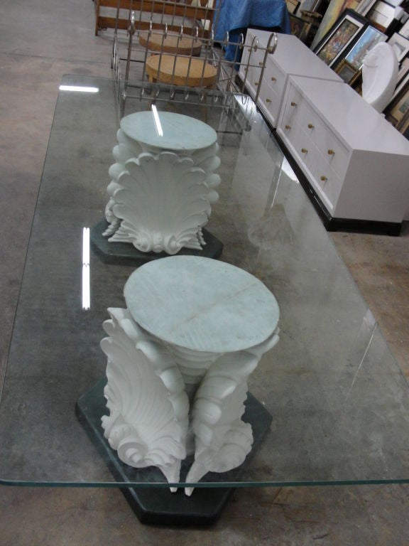 Massive French Plaster Table Bases In Venus Shell Motif For Sale 2