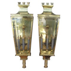 Pair of Large Italian Brass Lantern Sconces