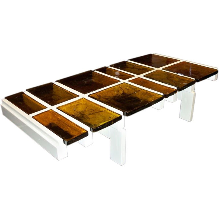 A Modernist Cocktail Table In White Lacquer And Amber Glass At 1stdibs