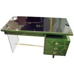 A Modernist Desk in Lacquer and Glass by Jacques Dumond