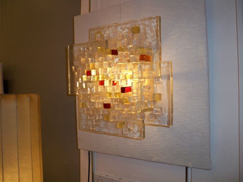 A large single glass wall sconce by poliarte at 1stdibs for Large glass wall