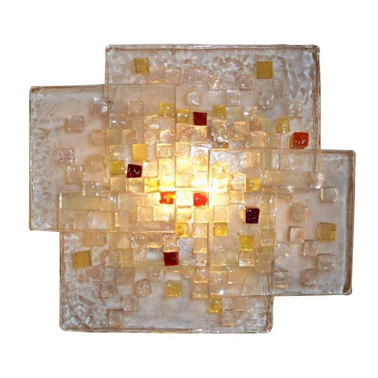 Large Glass Wall Sconces : A Large Single Glass Wall Sconce by Poliarte at 1stdibs