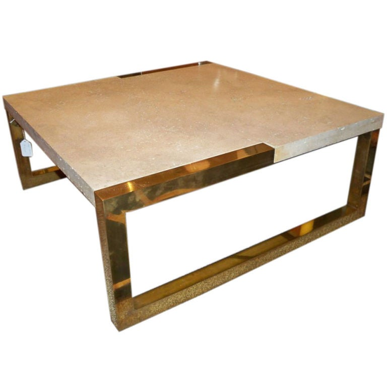 A Square Modernist Cocktail Table In Brass And Travertine