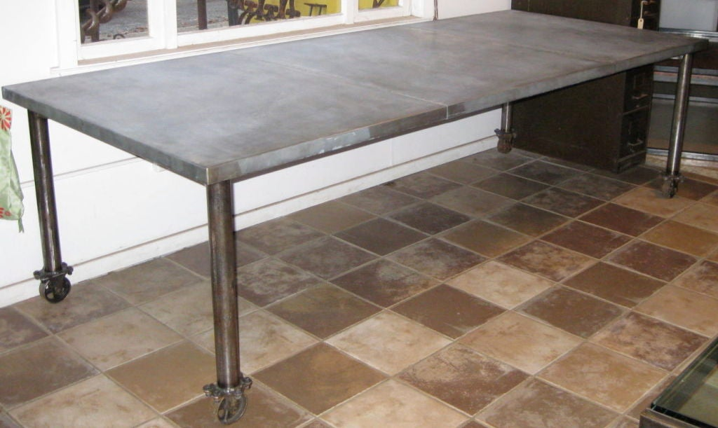 industrial zinc top dining table on wheels is no longer available