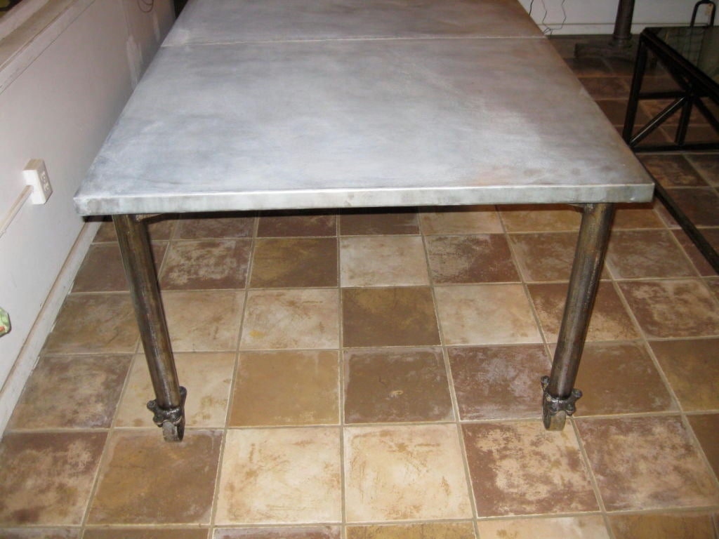 Industrial Extending Dining Table Industrial Zinc Top Dining Table On Wheels At 1stdibs