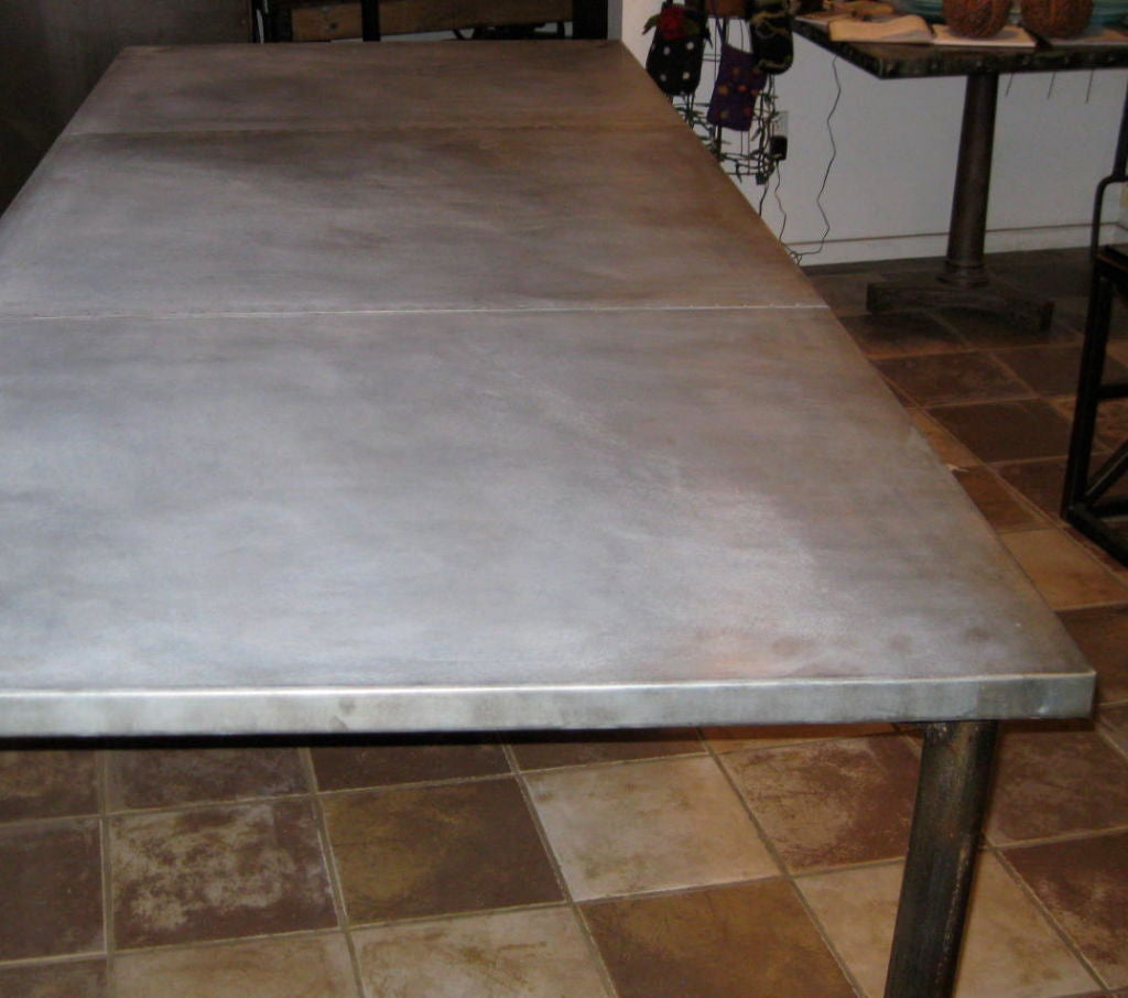 Industrial Zinc Top Dining Table On Wheels At 1stdibs