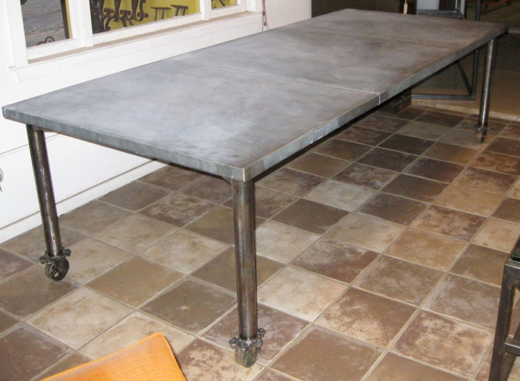 Industrial Zinc Top Dining Table On Wheels 5