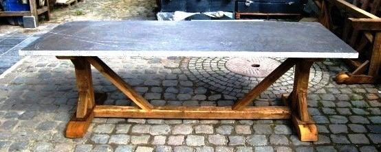 belgian bluestone top trestle farm table at 1stdibs