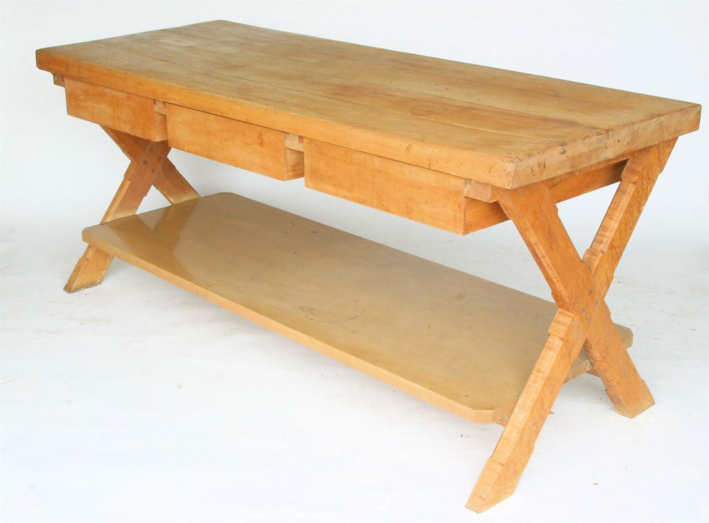 vintage maple butcher block table console at 1stdibs