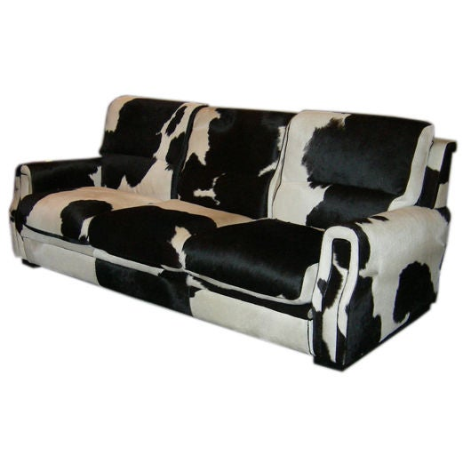 Full Scale Sofa In Patterned Cowhide At 1stdibs