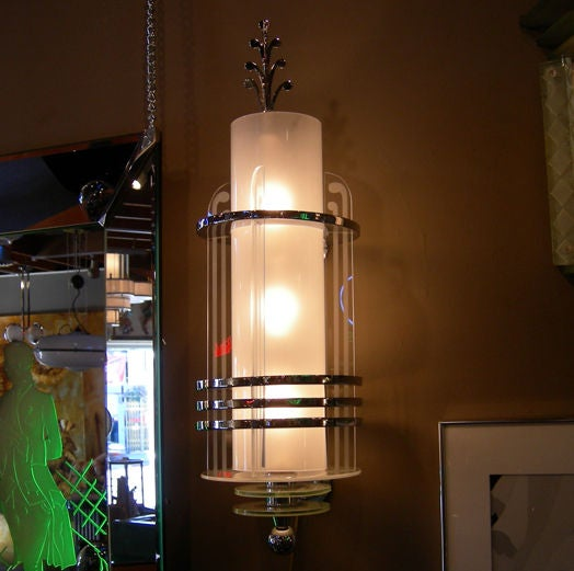 20th century fox art deco wall lamps 3 available at 1stdibs. Black Bedroom Furniture Sets. Home Design Ideas