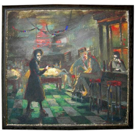 Depression Era Pool Hall Painting 1