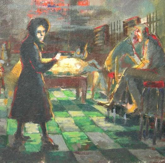 Depression Era Pool Hall Painting 2