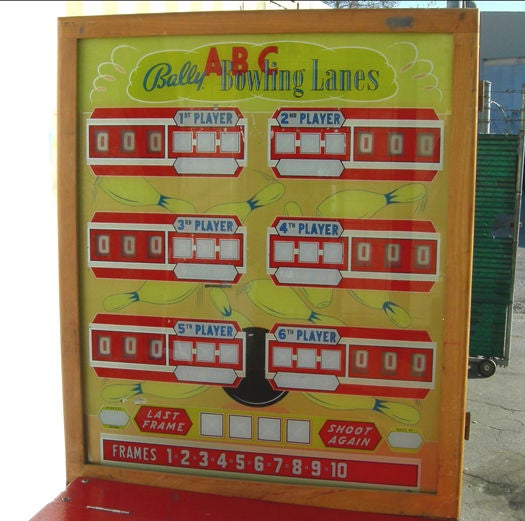 A very impressive game, indeed! The ABC Bowling Lanes used actual wooden bowling balls, not the typical metal pucks used on other games. They also had a return mechanism that rolls the balls back up to the players, through the side gutter. This