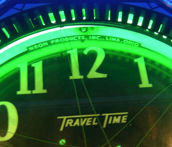 Travel Time Neon Clock With Rotor Action At 1stdibs