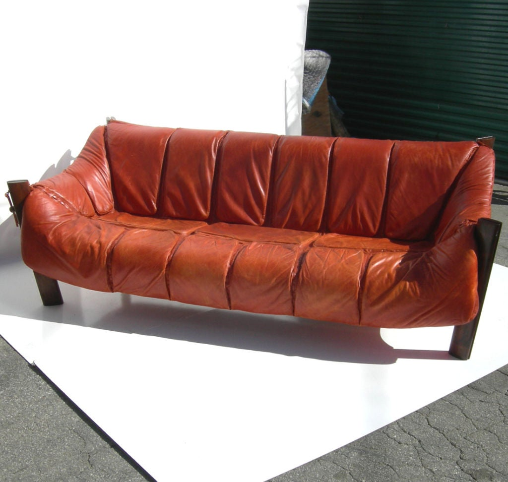 Percival Lafer Rosewood And Distressed Tufted Yellow: Brazilian Leather Sofa By Percival Lafer At 1stdibs