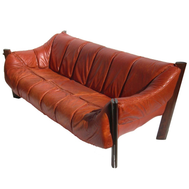 Brazilian Leather Sofa by Percival Lafer
