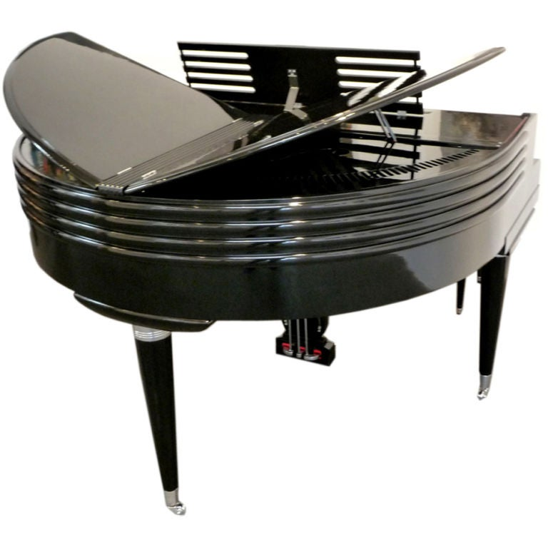 Art Deco Black Lacquered Wurlitzer Butterfly Piano For Sale