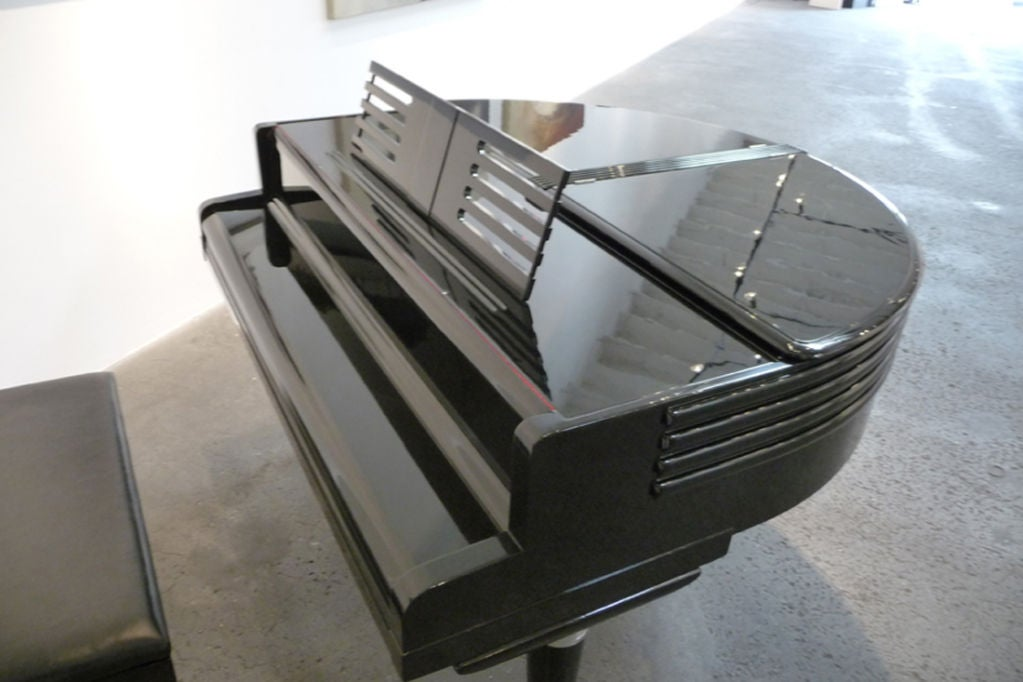 American Art Deco Black Lacquered Wurlitzer Butterfly Piano For Sale