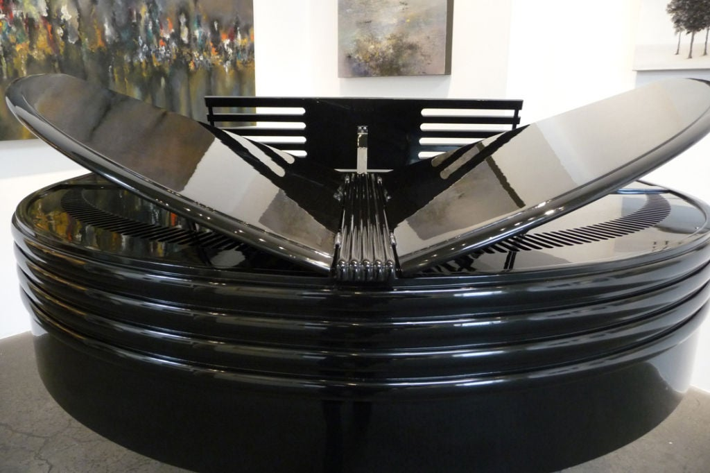 Chrome Art Deco Black Lacquered Wurlitzer Butterfly Piano For Sale