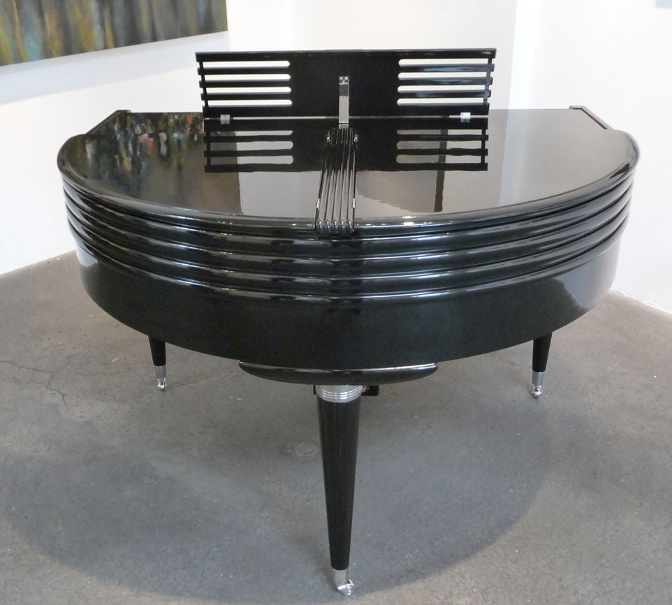 Art Deco Black Lacquered Wurlitzer Butterfly Piano For Sale 2