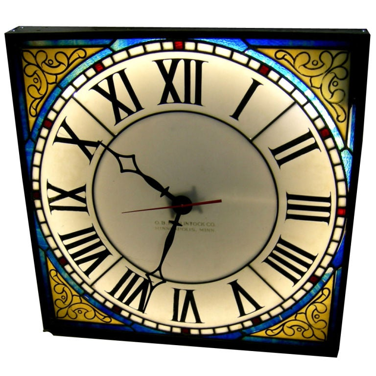 Illuminated stained glass wall clock by ob mcclintock for Fused glass wall clocks