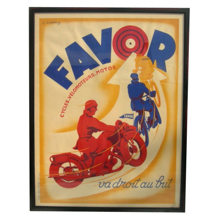 Art deco favor motorcycle poster by l matthey at 1stdibs for Poster prints for sale