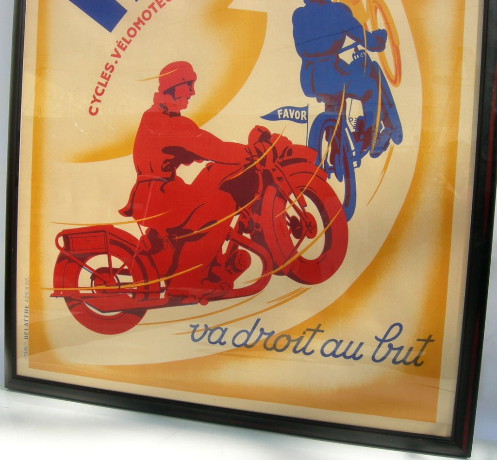 deco favor motorcycle poster by l matthey for sale at 1stdibs