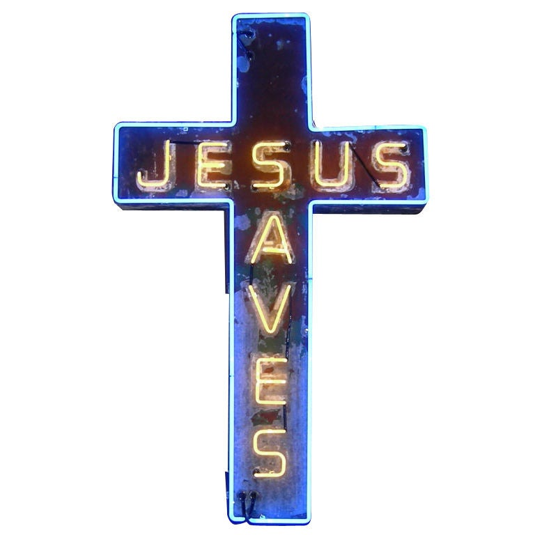 """Jesus Saves"" Neon Sign"