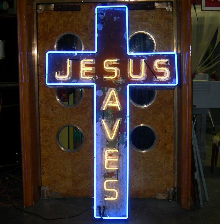"""Jesus Saves"" Neon Sign 2"