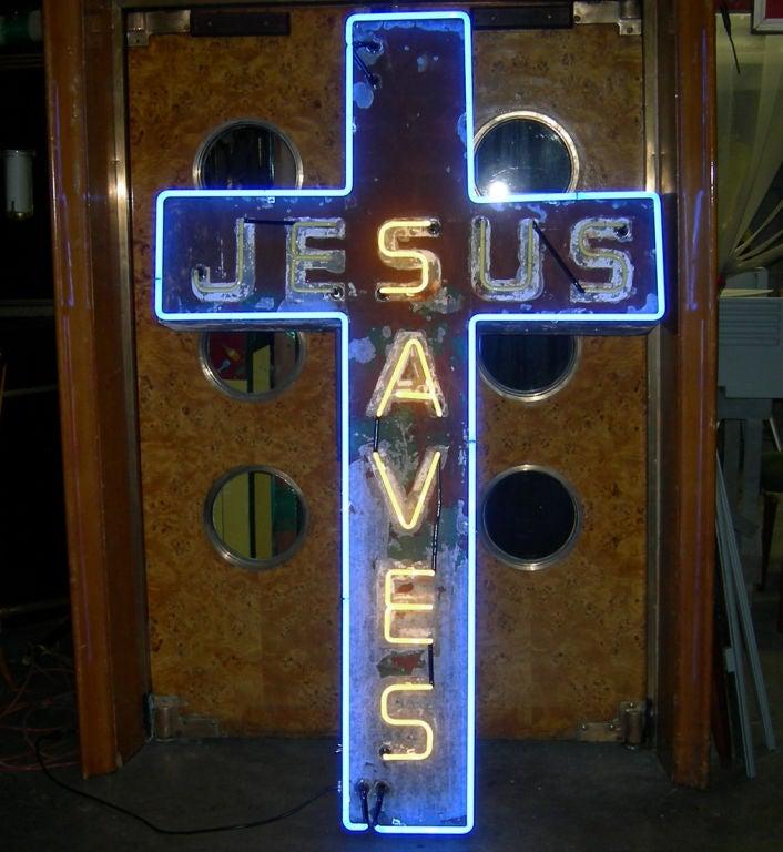 """Jesus Saves"" Neon Sign 4"