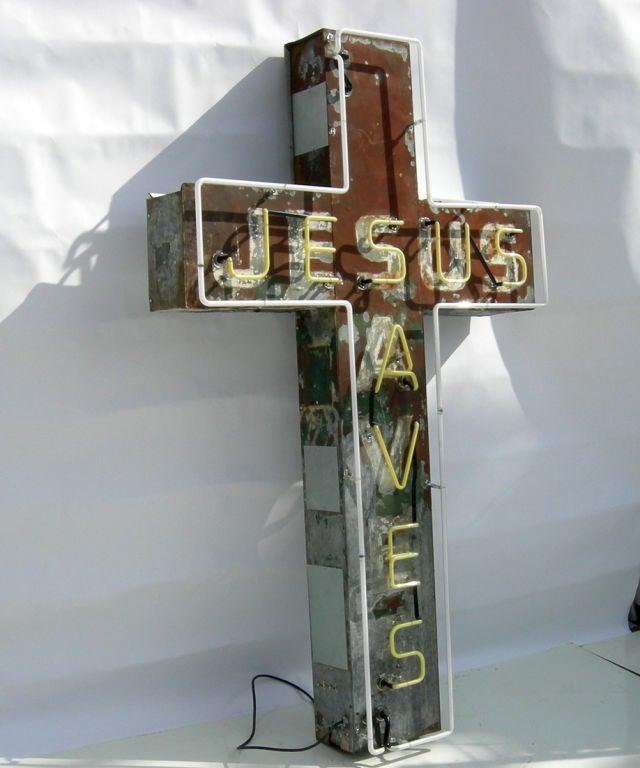 """Jesus Saves"" Neon Sign 6"