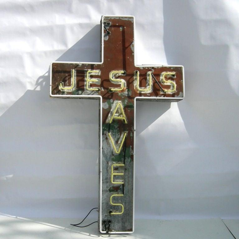 """Jesus Saves"" Neon Sign 7"