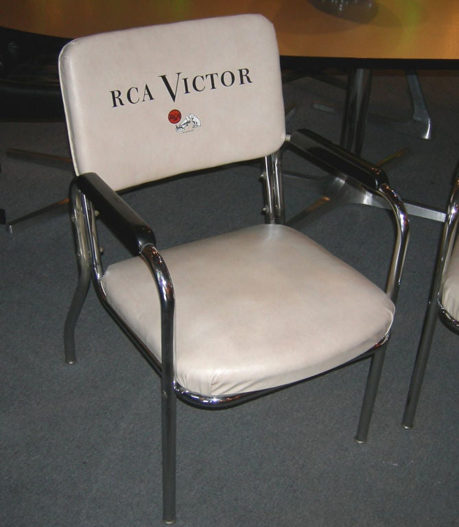 Used in the RCA studios and offices and some of the better retailers these & RCA Victor Pair of Advertising Logo Chairs at 1stdibs