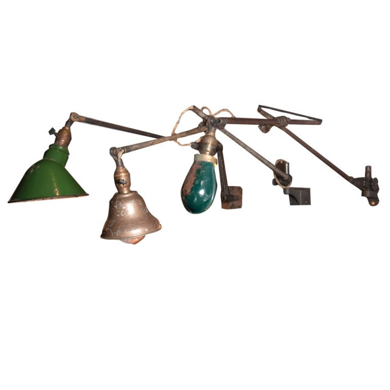 Trio of Vintage Wall Mounted O.C. Lamps at 1stdibs