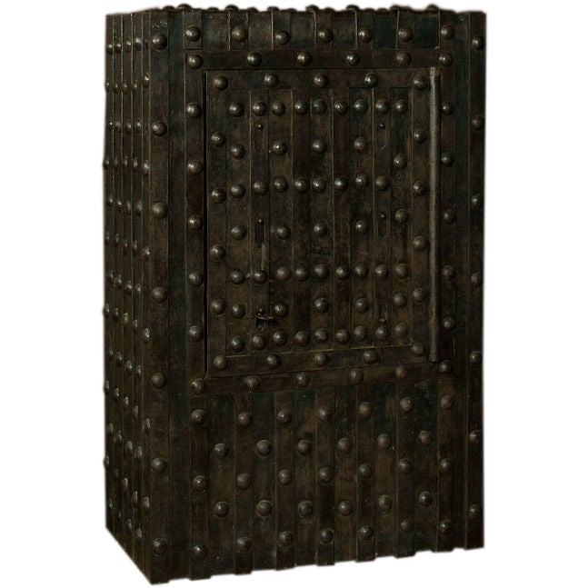 Massive Antique French Hobnail Safe