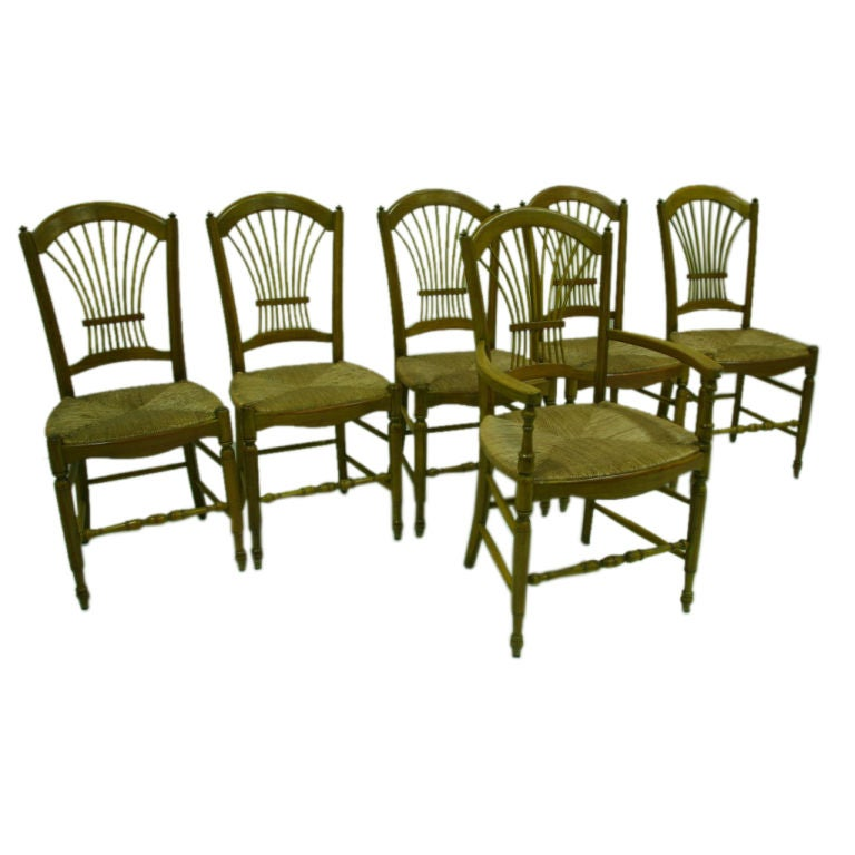 Set Of 20th Century French Painted Rush Seat Chairs At 1stdibs