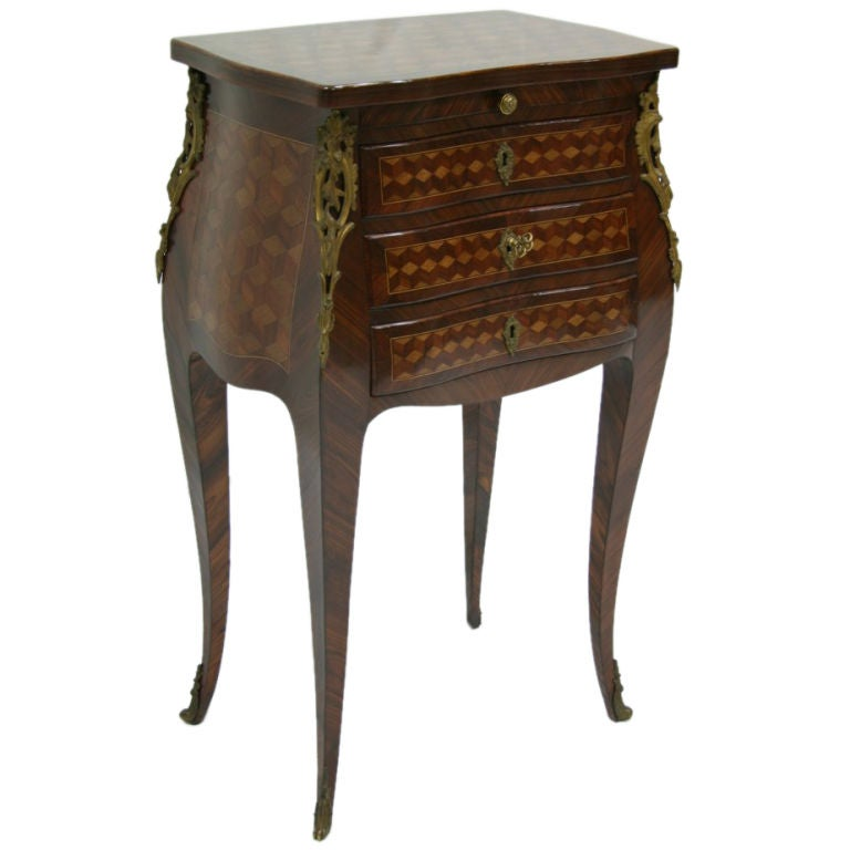 Exceptional 19th c french rosewood marquetry chevet table for Table chevet transparente