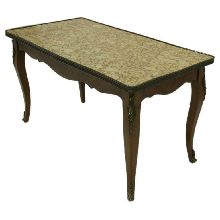 Early 1900s French Rosewood Marquetry Marble Top Table For
