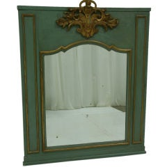 19th Century French Painted Parcel-Gilt Trumeau Mirror