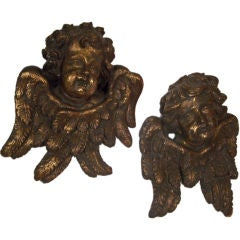 Large Baroque Carved and Gilt Wood Angels, Italian 18th Century