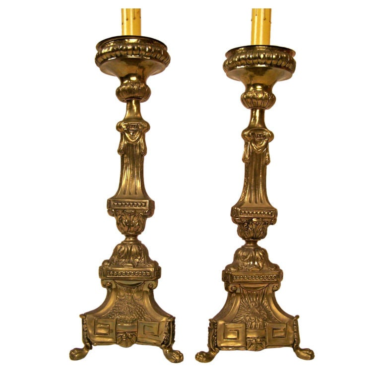 19th Century Brass Repousse Altar Candlesticks, Lamps