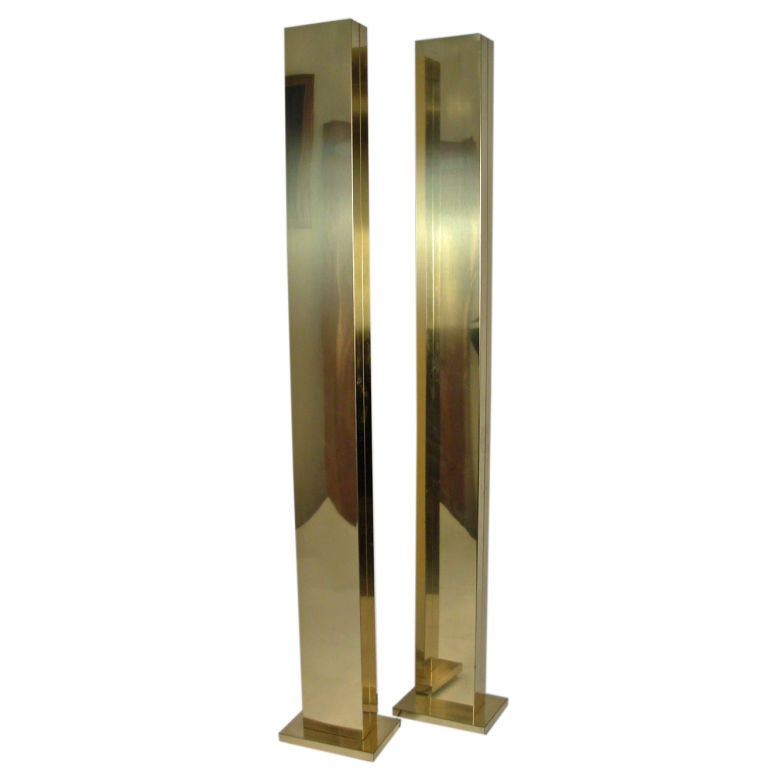 Pair of brass floor lamps by casella at 1stdibs for Casella brass floor lamp