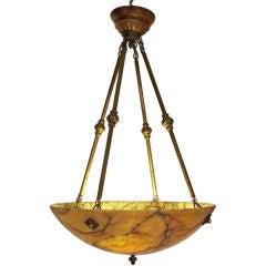 Large Amber Alabaster Light Fixture
